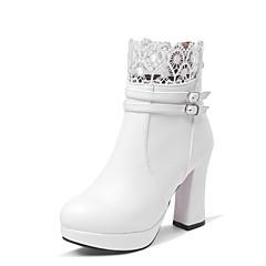 נעלי נשים - מגפיים - דמוי עור - נוחות / מגפי אופנה - שחור / חום / ורוד / לבן - חתונה / שטח / שמלה / קז'ואל - עקב עבה
