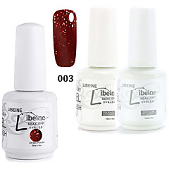 LIBEINE 1set(Color 003 + Base Coat+ Top Coat) 3PCs Soak Off 15 ML UV Gel Nail Polish Color Gel Polish