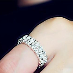 Women's Double Row Silver Elastic Adjustable Ring