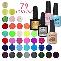 Landle losweken uv nagel gel 79 kleur gel geleid manicure gel (9 vaas) voet en top coat en willekeurige kleur