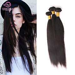 "1Pcs/Lot 8""-26"" Brazilian Virgin Remy Hair Extensions #1B(Natural Color) Straight Hair 6A MTBW08"