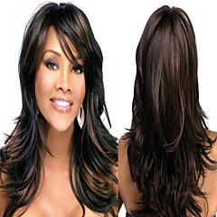 peruca sem tampa cor mix preto longo sintético com estrondo lado