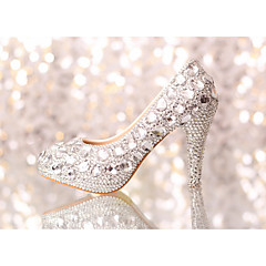 Women's Spring / Summer / Fall / Winter Heels Glitter Wedding / Dress / Party & Evening Stiletto Heel Rhinestone / Crystal Silver
