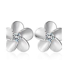 Oorknopjes Zirkonia Modieus Sterling zilver Kristal Zirkonia Kubieke Zirkonia Zilver Sieraden Voor Bruiloft Feest Dagelijks 2 stuks