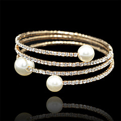 18k Golden Three Layer Elastic Bangle Bracelet for Party