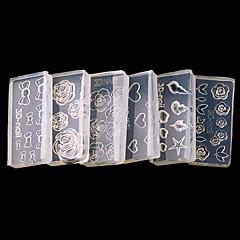 Moldes de Unhas Acrílicas 3D / Jóias de Unhas - Adorável - para Dedo - de Outro - com 6pcs - 4*2 - ( cm )