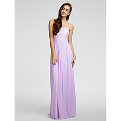 Lanting Bride® Floor-length Chiffon Bridesmaid Dress - Sheath / Column Strapless with Lace / Sash / Ribbon / Ruching