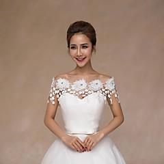 Xales de Casamento Colarinho Sem Mangas Renda Marfim Casamento Apliques Pérolas