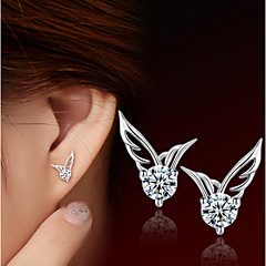 S925 Fine Silver AAA Zircon Wings Stud Earrings (1.1*0.8cm)