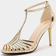 Women's Shoes Synthetic Stiletto Heel Heels / Peep Toe Sandals Wedding / Party & Evening / Dress / Casual Black / Gold