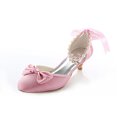 Women's Shoes Stretch Satin Spring / Summer / Fall Heels / Round Toe Wedding / Dress / Party & Evening Low Heel Imitation Pearl Pink