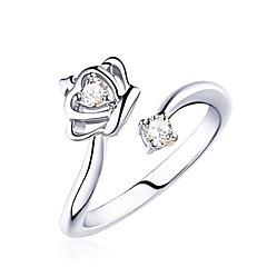 Anéis Pesta / Diário / Casual Jóias Prata de Lei / Cristal Feminino Anéis Statement 1pç,Ajustável Prateado