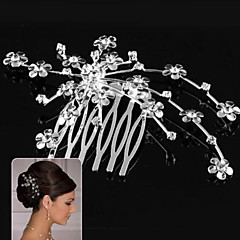 Silver Flower Hair Comb for Wedding Party Hair Jewelry