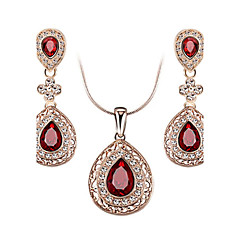 HKTC Bridal Ruby Jewelry Sets Red Heart Crystal Teardrop Pendant Necklace and Earrings Set
