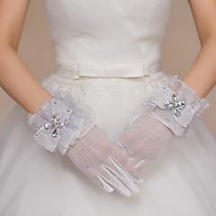 Wrist Length Fingertips Glove Net / Tulle Bridal Gloves / Party/ Evening Gloves Bow / Rhinestone