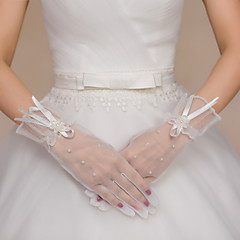 Wrist Length Fingertips Glove Tulle Bridal Gloves / Party/ Evening Gloves Beading / Floral / Bow