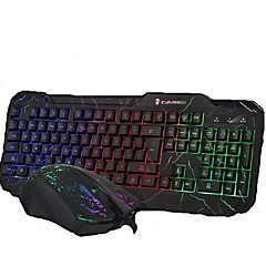 Wired Cracking Lights USB Gaming Mouse and Keyboard 2 Pieces a Set