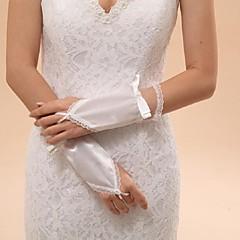 Wrist Length Fingerless Glove Elastic Satin Bridal Gloves / Party/ Evening Gloves Spring / Summer / Fall / Winter Bow