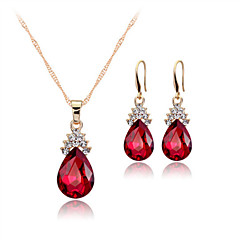 Women's 18k Gold Crystal Pendant Necklace Earrings Jewelry Set for Wedding Party