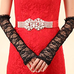 Elbow Length Fingerless Glove Lace Bridal Gloves / Party/ Evening Gloves Spring / Summer / Fall / Winter Black lace