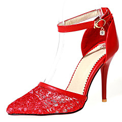 Women's Shoes Lace/Stiletto Heel/Pointed Toe Heels Wedding Shoes/Party & Evening/Dress Black/Red/White