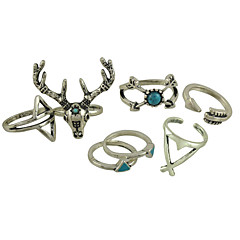 Women's Alloy Ring Turquoise Alloy 7 Pieces