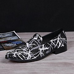 Men's Shoes Amir Pure Manual Abstract Painting Stage Show Wedding / Evening Party Comfort Cowhide Leather Loafers