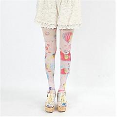 Socks/Stockings Sweet Lolita Lolita Lolita Red / White Lolita Accessories Stockings Print For Women Silk
