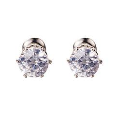 Clear AAA Zircon Silver Stud Earrings