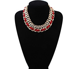 New Black Red Blue Leather Chain Weave Circle Metal Wire Chokers Colares Pendants Necklaces Statement Jewelry