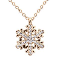 Fashion Gold Rhinestone Snowflake Pendant Long Chian Necklace Sweater Chain Necklace Pendant