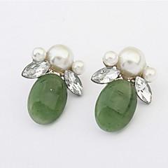 Double Rhinestone Leaf Simulated Pearl Ear Studs Colorful Earrings For Elegant Women
