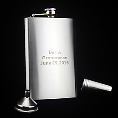 Personalized 6-pieces Stainless Steel Hip Flasks 9-oz  Flask Gift Set