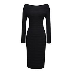VICONE Women's Long Sleeve Boat Neck Sexy Bodycon Slim  Dresses