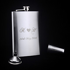 Personalized 6-pieces Stainless Steel Hip Flasks 9-oz  Flask Gift Set Love