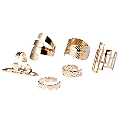 Jewelry Set Statement Rings Cuff Ring Heart Fashion Simple Style Alloy Heart Leaf Gold Jewelry For Party Daily Casual 1set