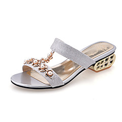 Women's Spring Summer Fall Comfort Glitter Wedding Dress Casual Party & Evening Chunky Heel Imitation Pearl Blue Silver Gold