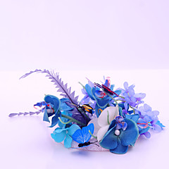 Women's Lace Feather Flax Fabric Headpiece-Wedding Special Occasion Casual Outdoor Fascinators 1 Piece