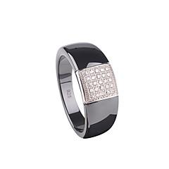 指輪,スターリングシルバー ファッション 結婚式 / パーティー / 日常 / カジュアル ジュエリー 純銀製 カップルリング 1個,6 / 7 / 8 ブラック / ホワイト