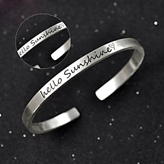 Men's / Unisex / Women's / Couples' Cuff / Personalized / Round Bangles Bracelet Silver / Sterling Silver Non Stone