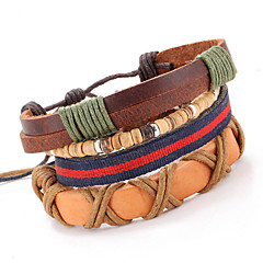 Punk Adjustable Waxed Cord Hand-woven Leather Bracelet Multilayer Cross Section Of Men And Women(four pairs)
