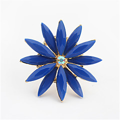 Sun Large Fresh Fouble Flower Crystal Adjustable Ring