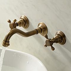 Traditionel Vægmonteret To Håndtag tre huller in Antik Messing Håndvasken vandhane
