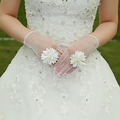 White Lace Elastic Silk Flower Shape Tulle Fingertips Wrist Length Bridal Gloves for Wedding Party