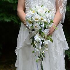 Λουλούδια Γάμου Ελεύθερης Μορφής Καταρράκτης Τριαντάφυλλα Μπουκέτα Γάμος Πάρτι/ Βράδυ Σατέν Μετάξι