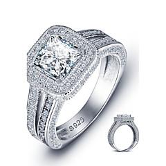 Anéis Quadrado Fashion Casamento / Pesta / Casual Jóias Prata de Lei Feminino Anéis Grossos 1pç,6 / 7 / 8 Prateado
