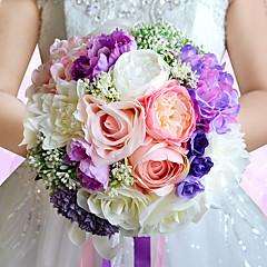 """פרחי חתונה עגול ורדים שושנים פרחי אדמוניות זרים חתונה חתונה/ אירוע פוליאסטר סאטן אורגנזה פרחים מיובשים אבן ריין 9.84""""(לערך.25ס""""מ)"""