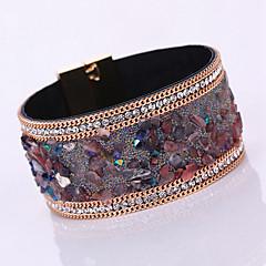 女性 ラップブレスレット レザーブレスレット レザー ラインストーン 模造ダイヤモンド 合金 ファッション ボヘミアスタイル 愛らしいです 幾何学形 パープル イエロー Brown ダックレッド 虹色 ジュエリー 1個