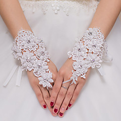 Wrist Length Fingerless / Fingertips Glove  / Tulle Bridal Gloves / Party/ Evening Gloves Spring / Summer /White Floral