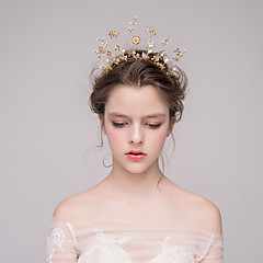 Miss Diva Women's Alloy Headpiece-Casual Tiaras 1 Piece Gold Irregular 27